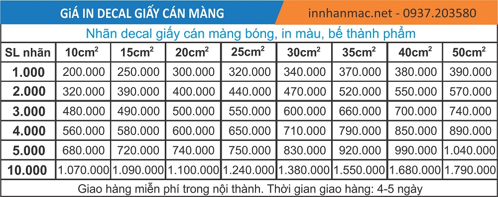 bảng giá in decal giấy